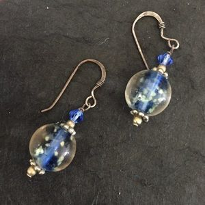 Clear/blue glass earrings with glow in the dark